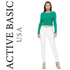Active Basic's Green Button Down Cardigan